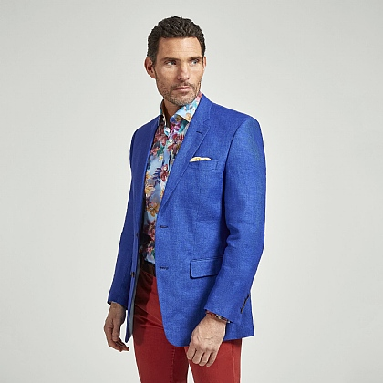 Azure Blue Plain Linen Jacket