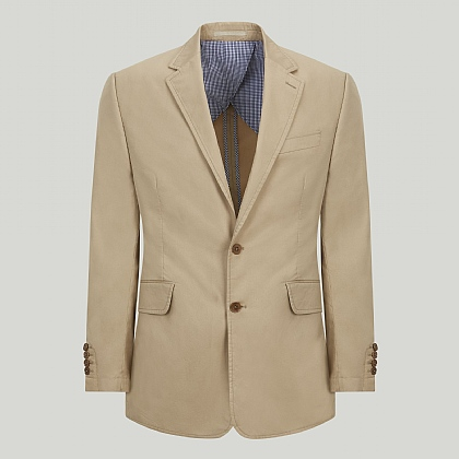 Beige Cotton Unstructured Jacket