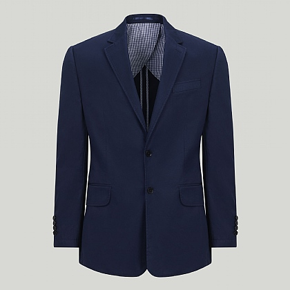 Navy Cotton Unstructured Jacket