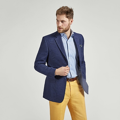 Blue Textured Linen and Wool Jacket