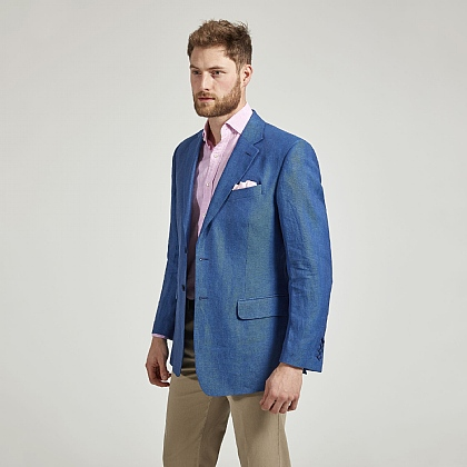 Mid Blue Herringbone Linen Jacket