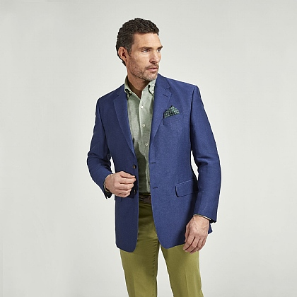 Navy Linen and Cotton Twill Jacket