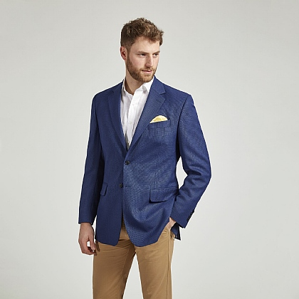 Blue Textured Wool Jacket