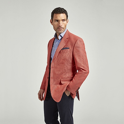 Salmon Pink Textured Wool Jacket