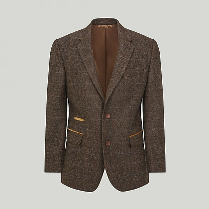Brown with Gold Overcheck Wool Jacket