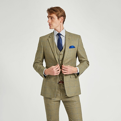 Sage Green Wool and Cotton Check Jacket