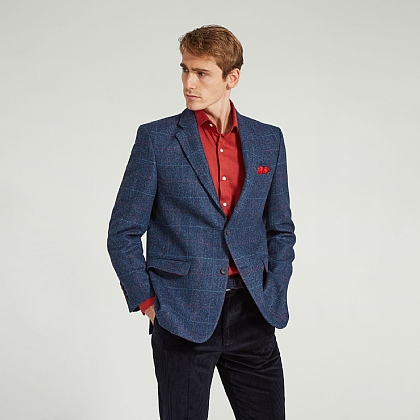 Blue Herringbone Tweed Check Jacket
