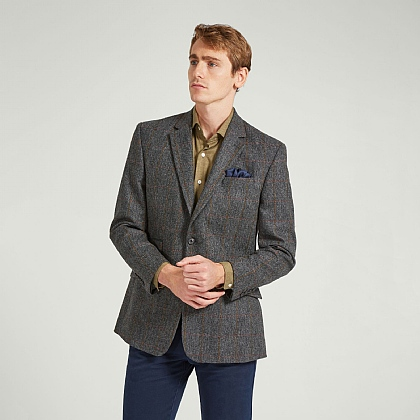 Dark Grey with Brown and Red Overcheck Tweed Jacket