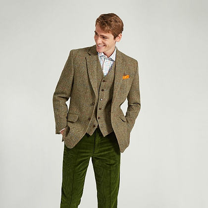 Harris Tweed Olive Green Check Tweed Jacket