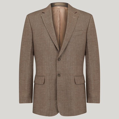 Brown Linen and Cotton Mix Jacket