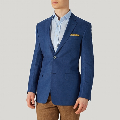 Blue Linen and Wool Mix Jacket