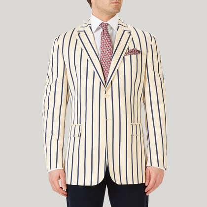 Cream with Navy Striped Boating Jacket