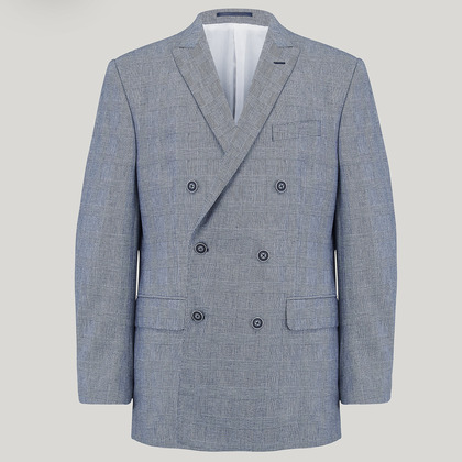 Navy Double Breasted Prince of Wales Check Jacket