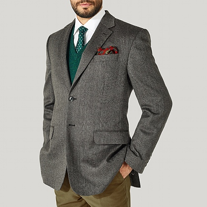 Grey 100% Wool Herringbone Jackets