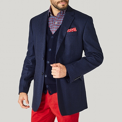 Navy 100% Wool Herringbone Jackets