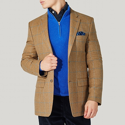 Beige and Blue Check Tweed Jacket