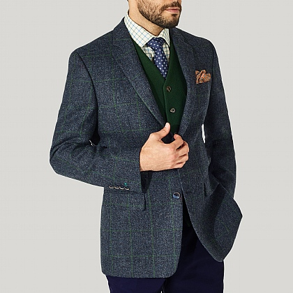 Dark Blue and Green Check Lovat Tweed Jacket