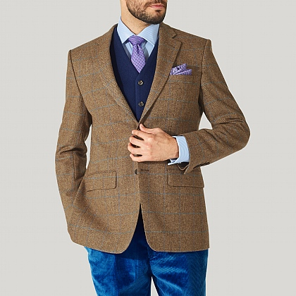 Fawn and Blue Check Tweed Jacket