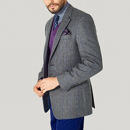Grey and Blue Check Tweed Jacket