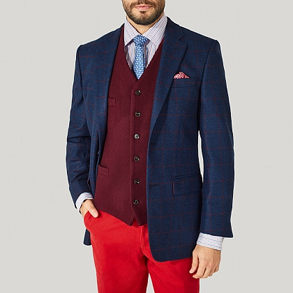 Navy and Red Check Wool Jacket