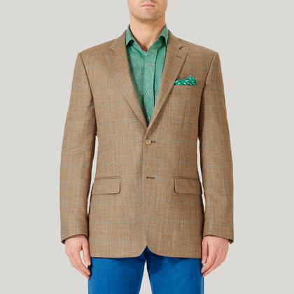 Sand and Blue Wool, Silk and Linen Check Jacket