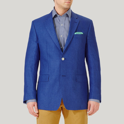 Royal Blue 100% Linen Jacket