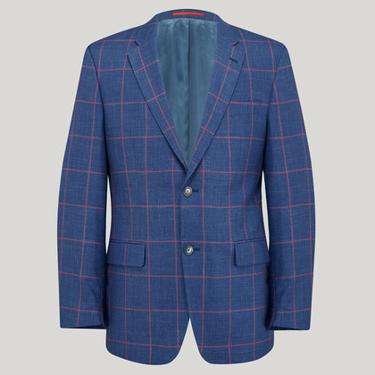 Azure with Red Check Wool, Silk and Linen Jacket