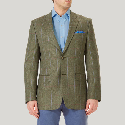 Sage and Orange Wool, Cotton and Cashmere Mix Jacket