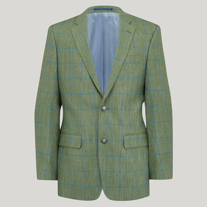 Mint and Blue Wool, Silk and Linen Check Jacket