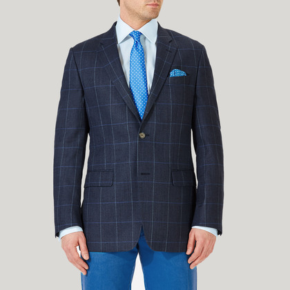 Navy and Blue Wool, Silk and Linen Check Jacket