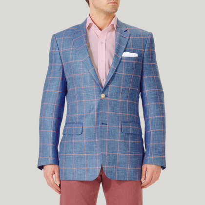 Sky and Pink Wool, Silk and Linen Check Jacket