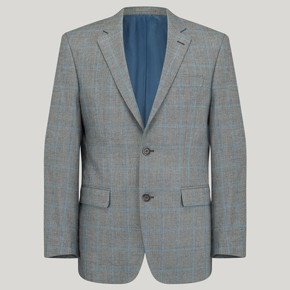 Silver with Sky Wool, Silk and Linen Check Jacket