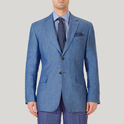 Blue Plain Linen Jacket