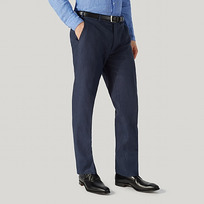Navy Linen Mixer Trouser