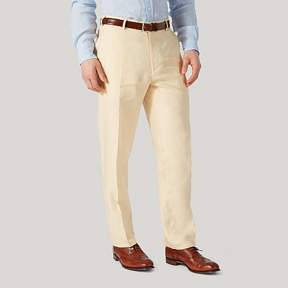 Beige Linen Mixer Unfinished Trouser