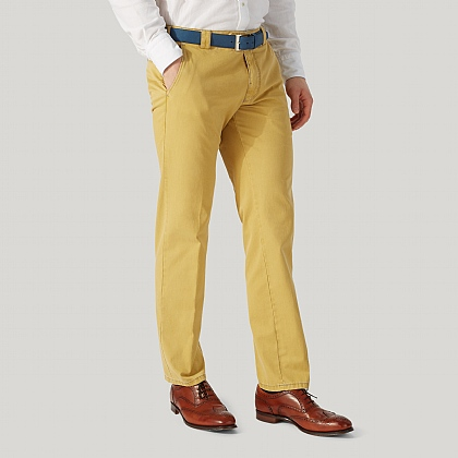 Mustard Cotton Classic Fit Trouser