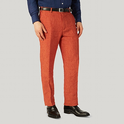 Rust Red Pure Linen Unfinished Trouser