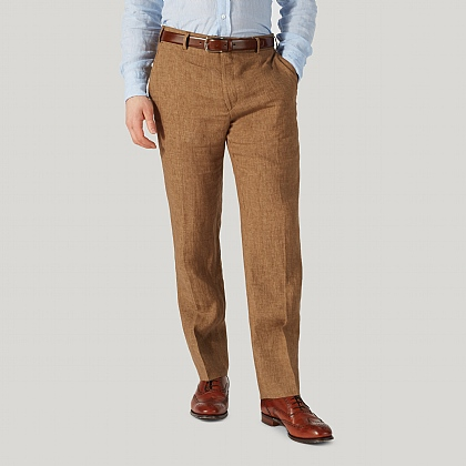 Coffee Brown Pure Linen Unfinished Trouser