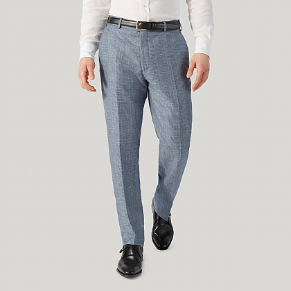 Blue Prince of Wales Wool and Linen Check Unfinished Trouser