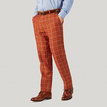 Burnt Orange Check Linen Trousers