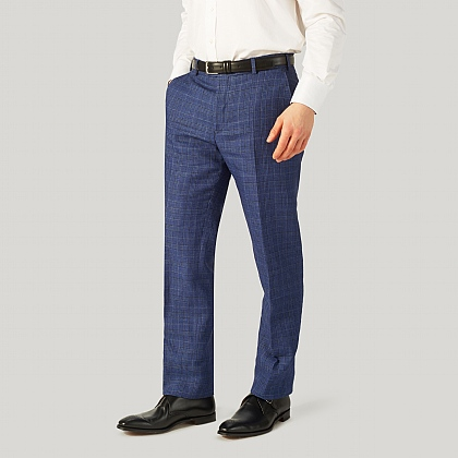Blue Sports POW Check Wool and Linen Trouser