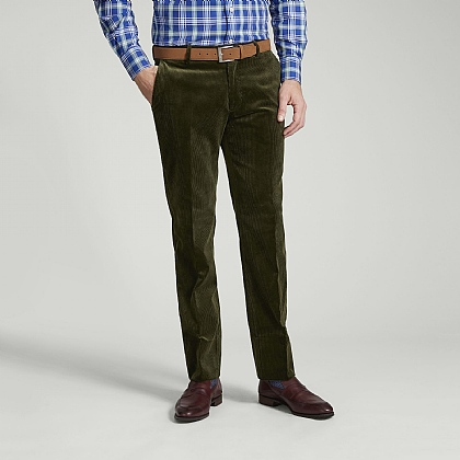 Olive 100% Cotton Cord Trousers