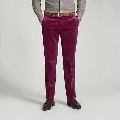 Wine Cotton Cord Unfinished Trousers