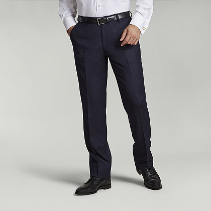 Navy Flannel Super Wool Trousers