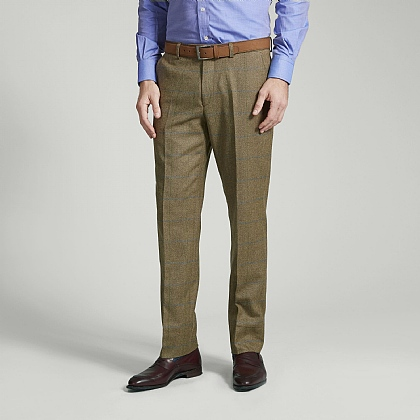 Light Tan and Blue Check Tweed Unfinished Trousers