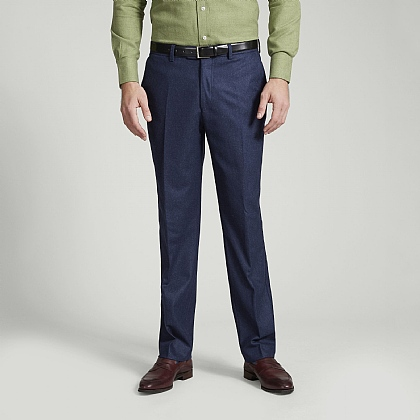 Navy Soft Flannel Wool Trouser