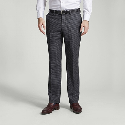 Grey Wool Check Trousers