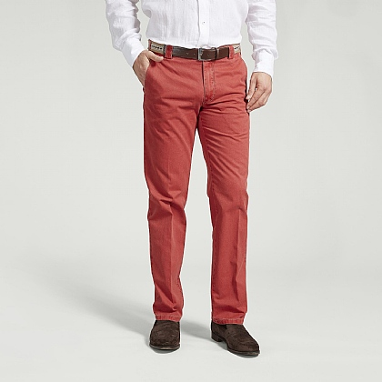 Red Cotton Classic Trouser