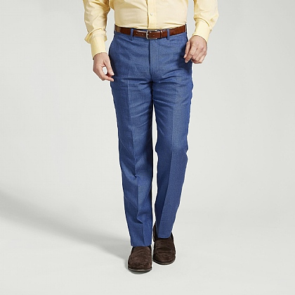 Blue Linen and Wool Trouser