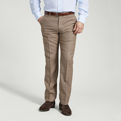 Tan and Sky Check Trouser